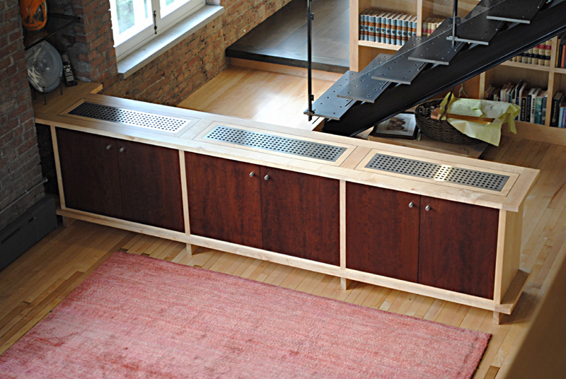 media console- maple case with stainless steel grates and cherry dyed door panels.  ~12'x20