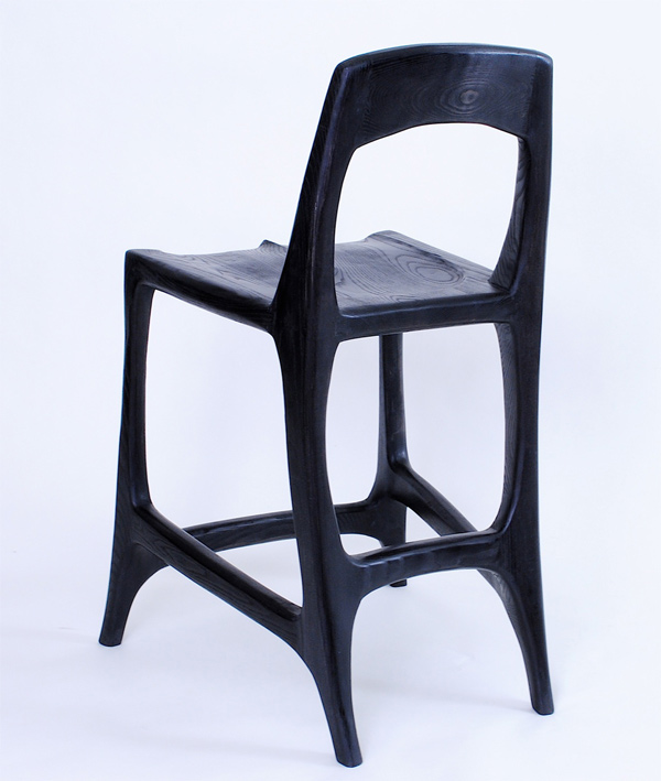 sculpted bar stool in ebonized ash