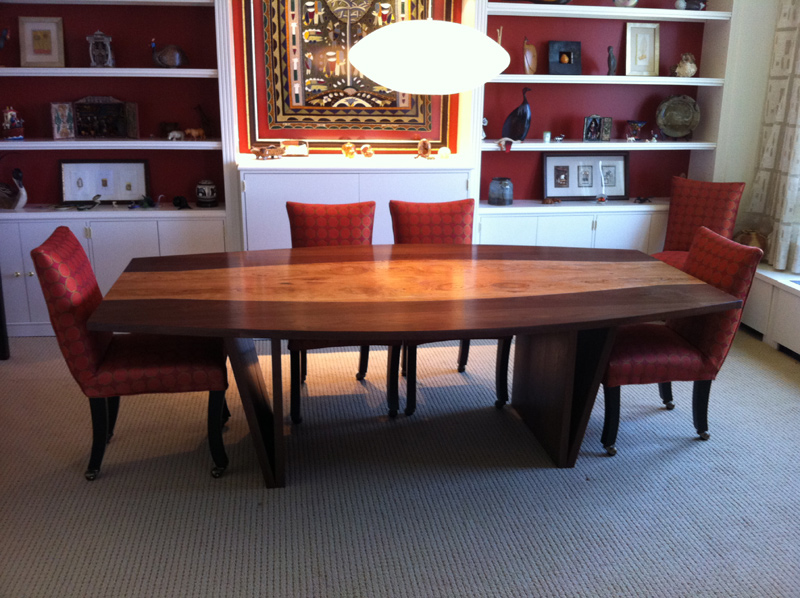 Walnut and cherry 6-8 person curved dining room table-84