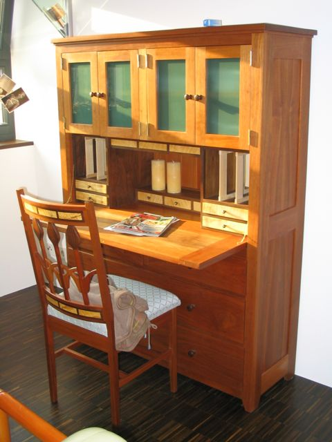 Cherry hutch desk.  featuring 12 drawers with hand cut dovetails 60
