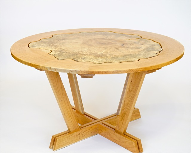 Round slab kitchen table in maple and cherry- 54