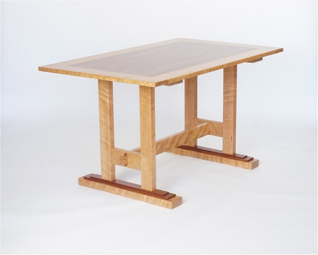 trestle kitchen table in cherry and bubinga- 54