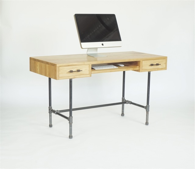 desk in siberian elm and metal pipe-  54'x24'x30'